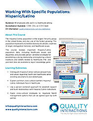 Working With Specific Populations: Hispanic/Latino