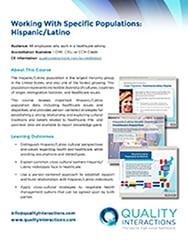 Working With Specific Populations: Hispanic/Latino