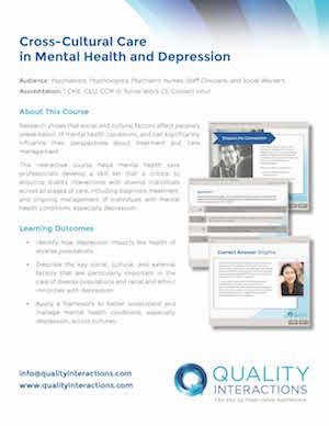 Cross-Cultural Care in Mental Health and Depression